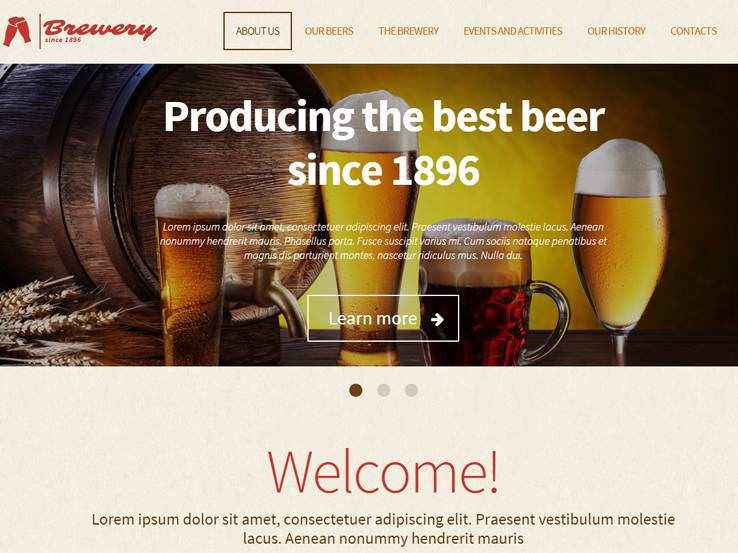 Тема для сайта пивоваренного завода.