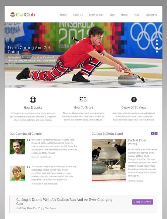 curlclub WordPress спорт-тема
