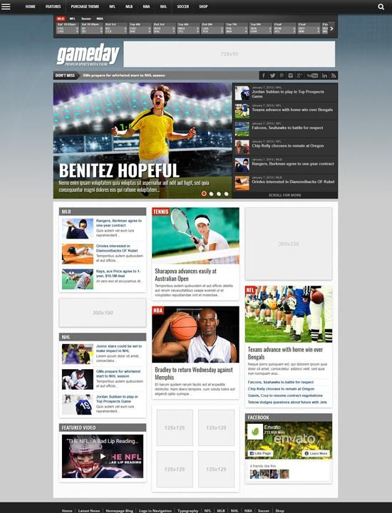 GameDay WordPress спорт тема Вордпресс
