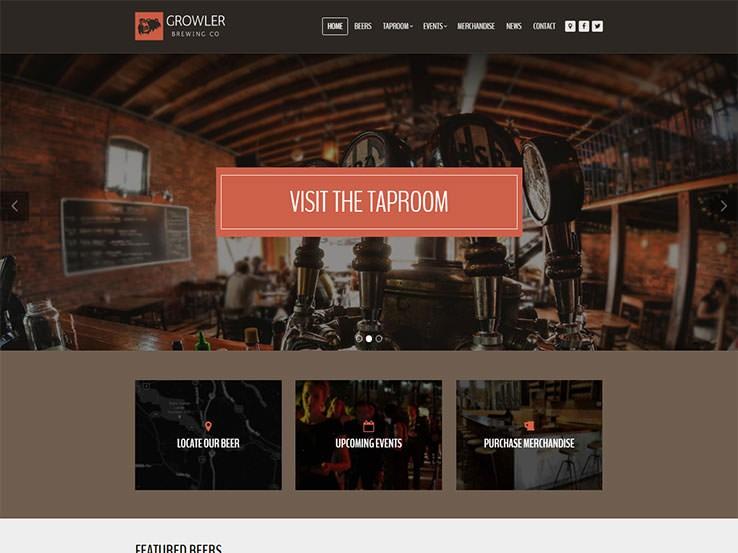 Growler - это стильный и современный шаблон WordPress для пивоварен и пабов.