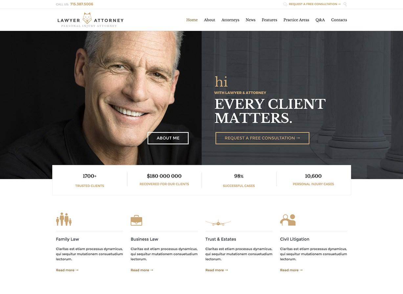 Юрист и адвокат Профессиональная тема WordPress