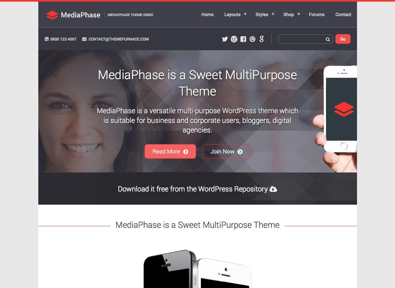MediaPhase Бесплатная бизнес-тема WordPress