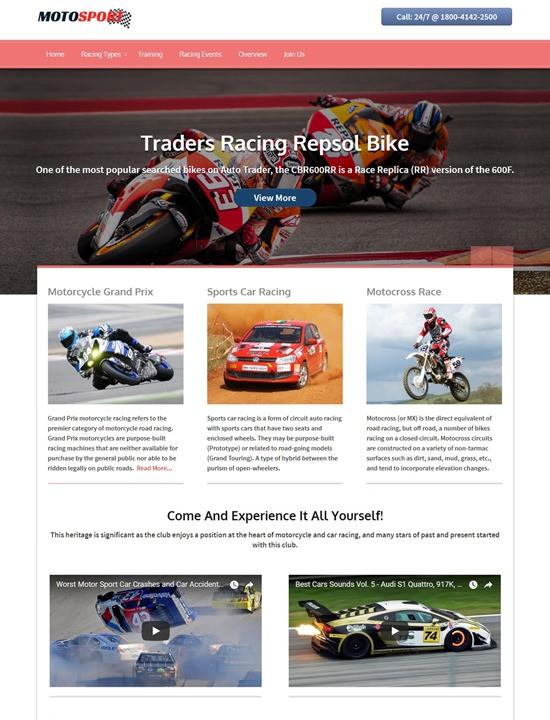 MotoSports WordPress спорт шаблон