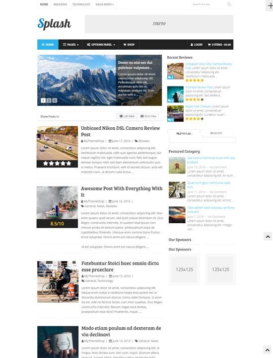 Splash шаблон WordPress для сайта о спорте