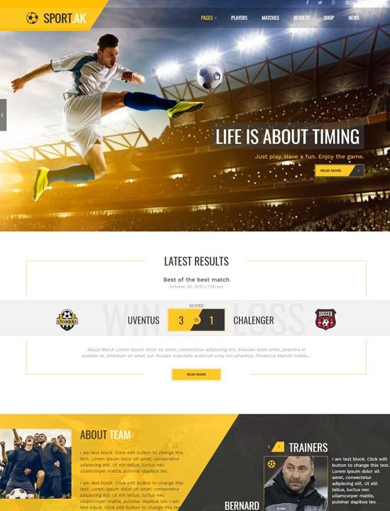 sportak WordPress спорт тема