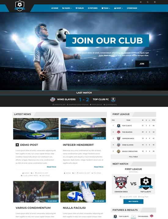 топ клуб WordPress спорт тема