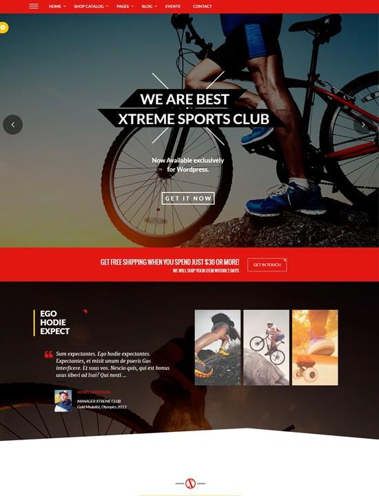 Xtreme Sports шаблон для Вордпресс