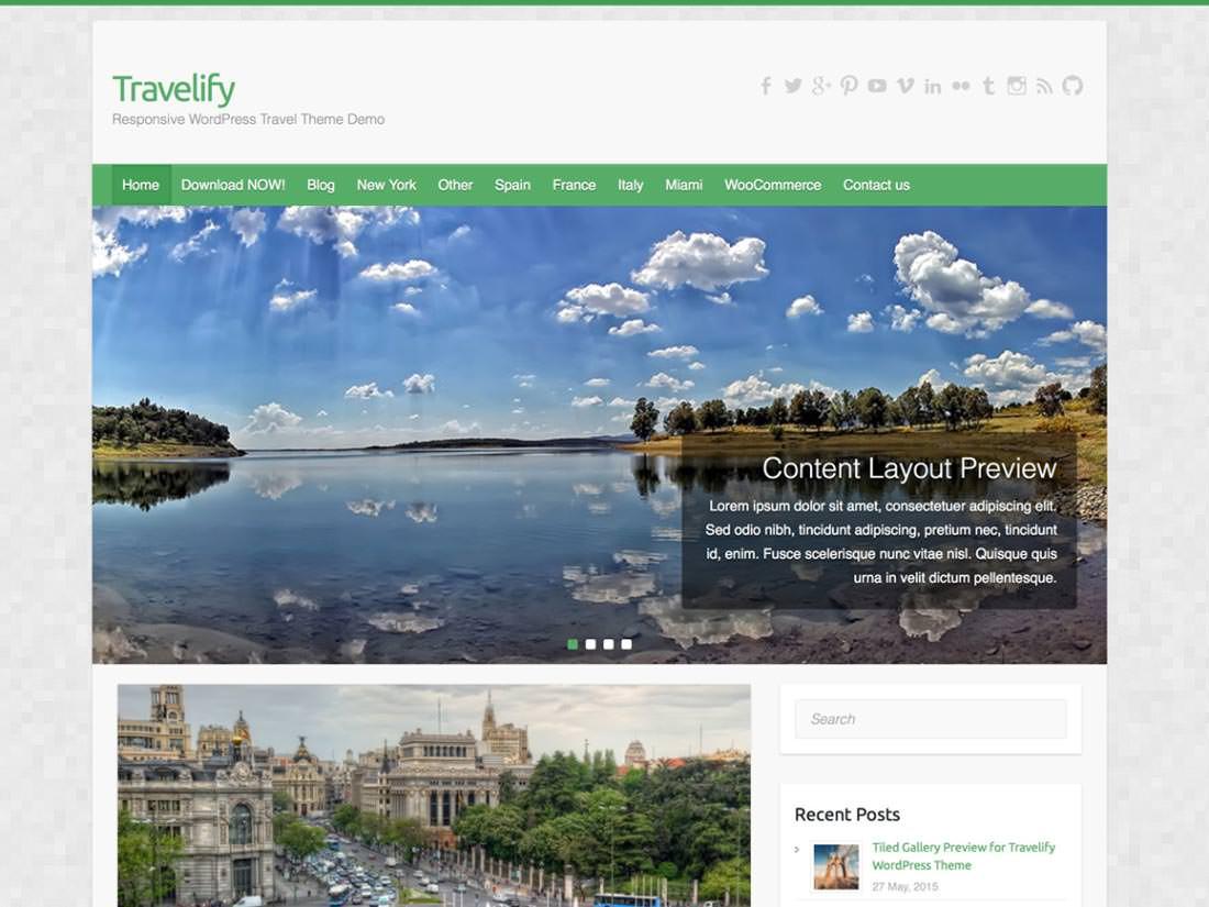 Travelify бесплатная тема