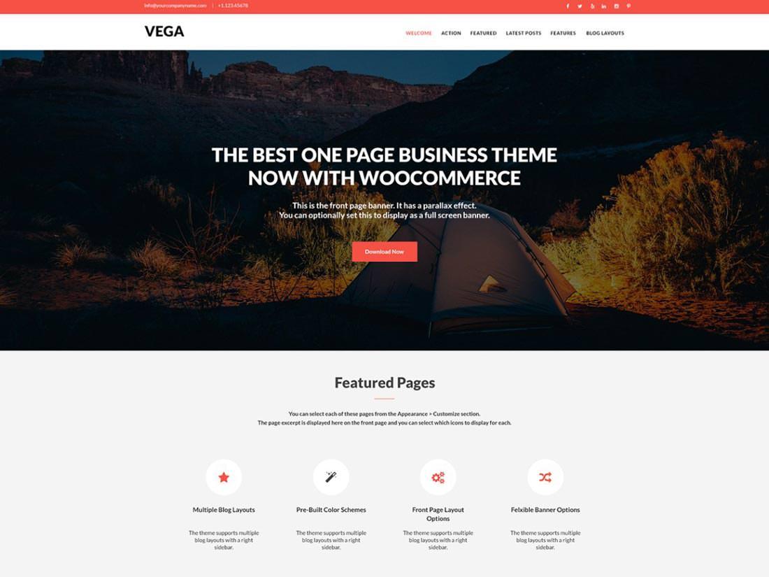 Vega готовая тема для природного вебсайта
