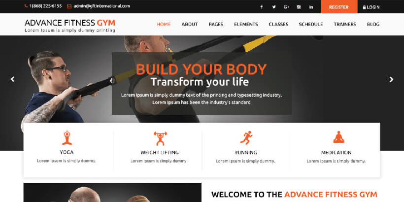 Advance Fitness Gym бесплатная тема Вордперсс