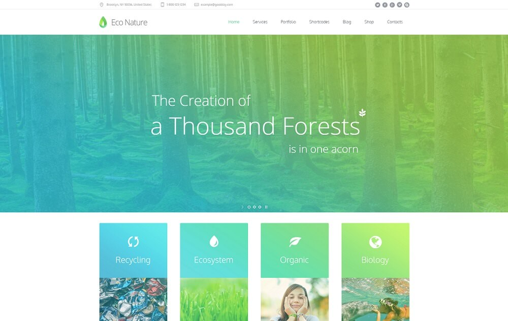 14 премиальных шаблонов WordPress на тему природы 2019 года