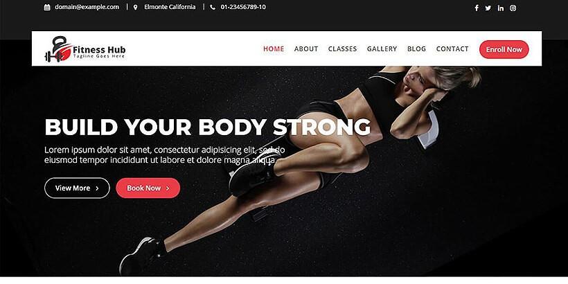 Фитнес-центр бесплатный WordPress шаблон