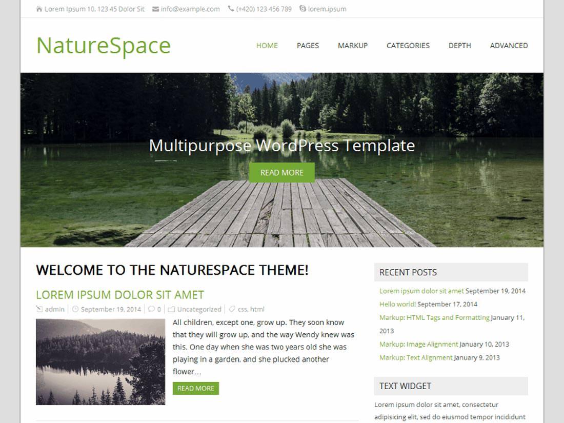 NatureSpace бесплатная темя Вордпресс