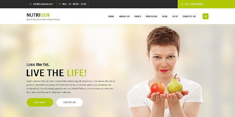 Nutrigen бесплатный шаблон для сайта о фитнесе на WordPress