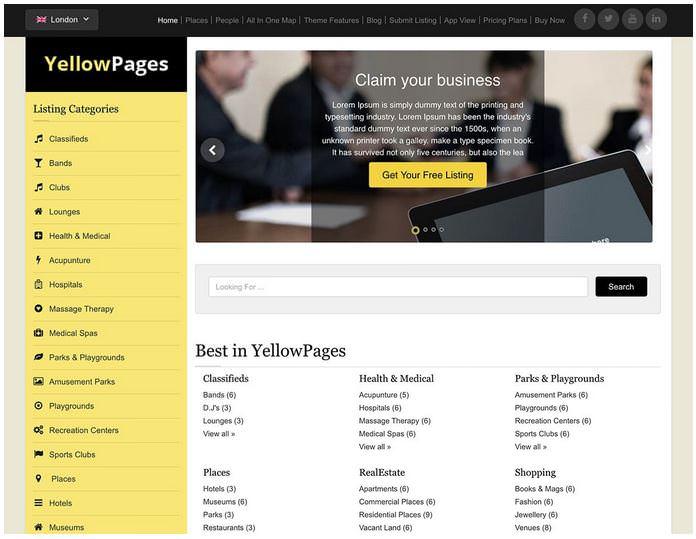 YellowPages - это дочерняя бесплатная тема для темы каталога из Templatic