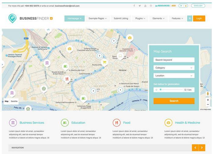 businessfinder шаблон интегрирован с приемом платежей