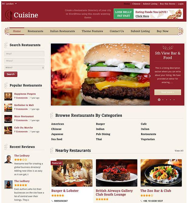 Кухня - еще одна бесплатная тема для популярного каталога приложений от Templatic