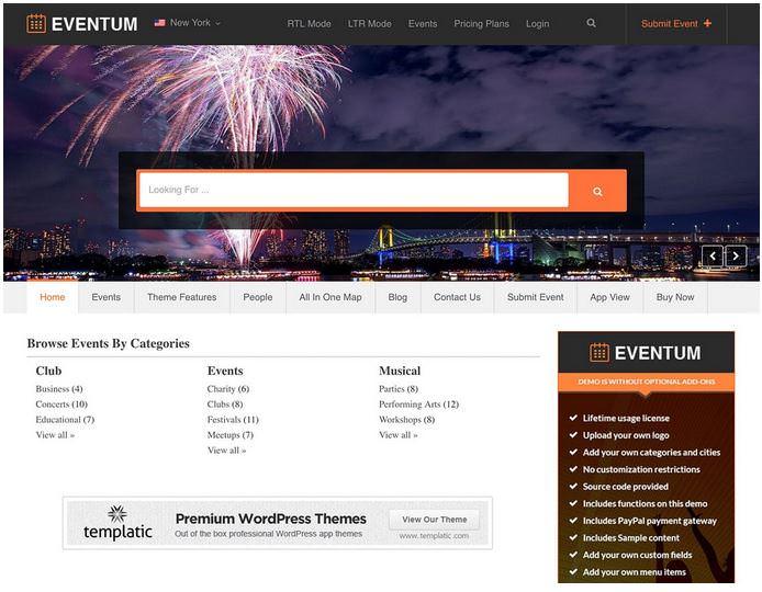 Eventum - это дочерняя тема для популярной темы Directory от Templatic для сайта каталога