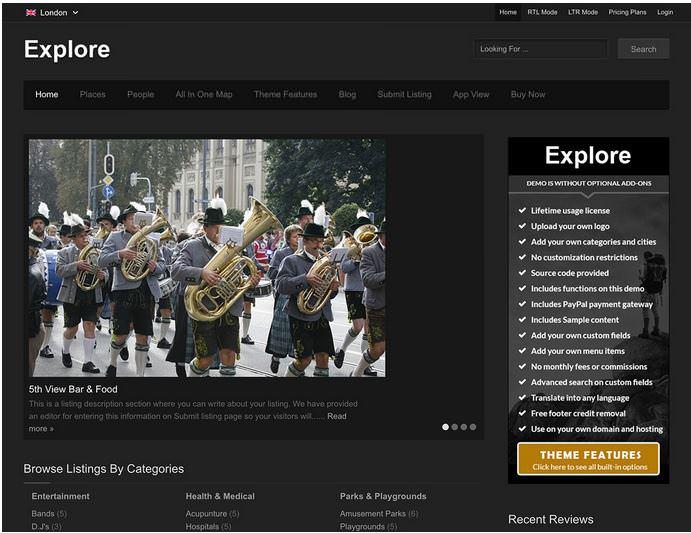 explore шаблон для сайта дириктории