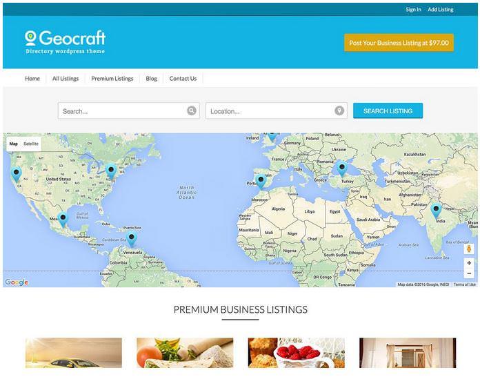 GeoCraft шаблон для сайта каталога на Вордпресс