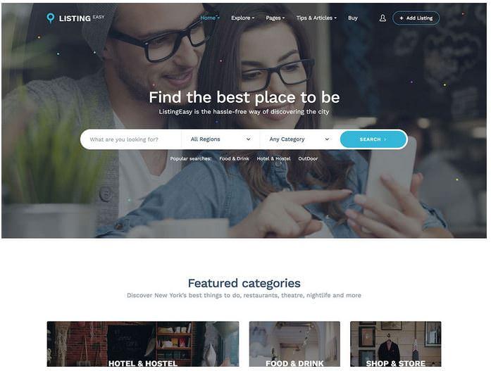 listineasy бесплатный шаблон для сайта каталога
