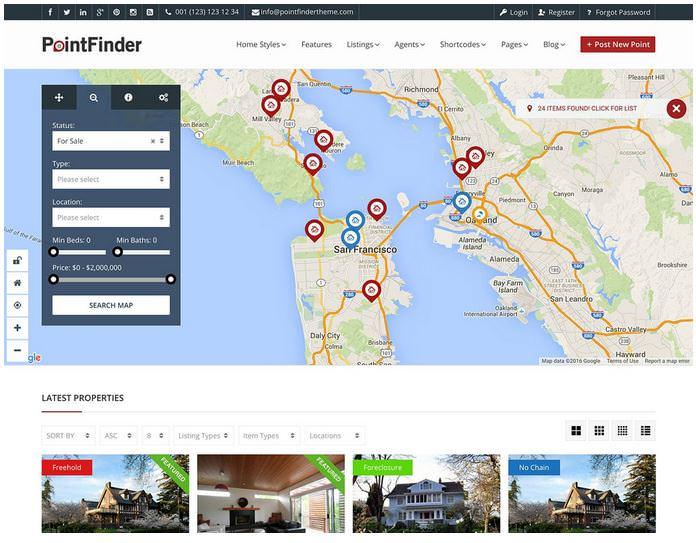 Point Finder - это многофункциональная тема каталогов для WordPress
