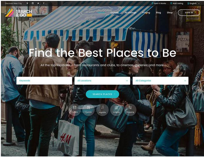 Search & Go - бесплатная тема для сайта директории на WordPress.
