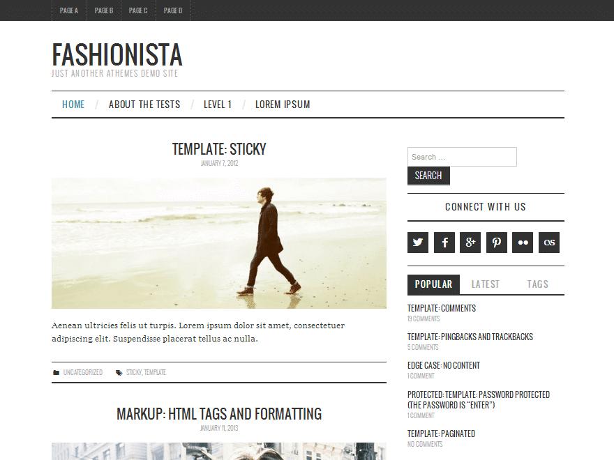 Тема Fashionistas для новостного сайта