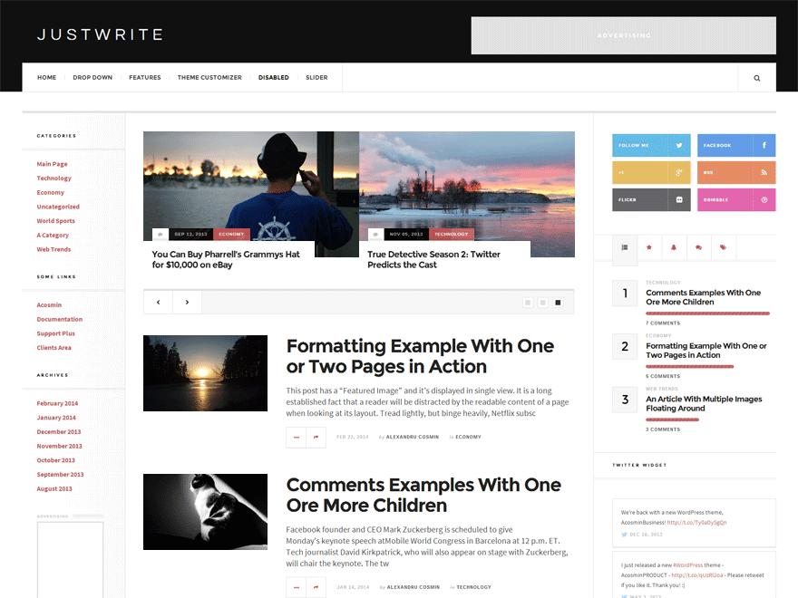 JustWrite - это простая тема журнала WordPress
