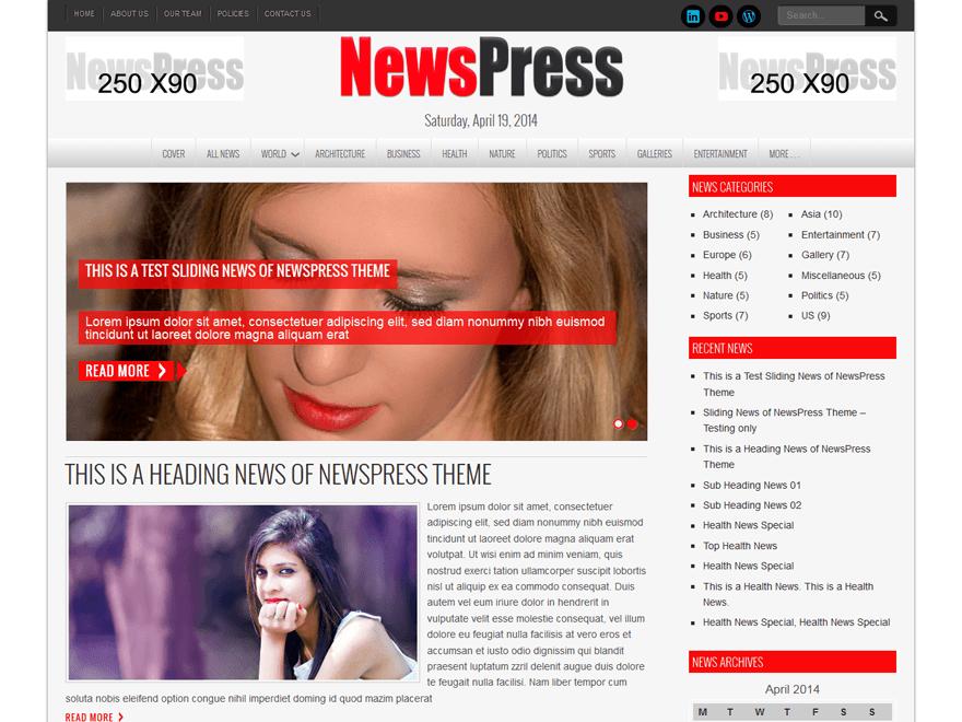 NewsPress Lite рекламирует себя как многоцелевую тему WordPress