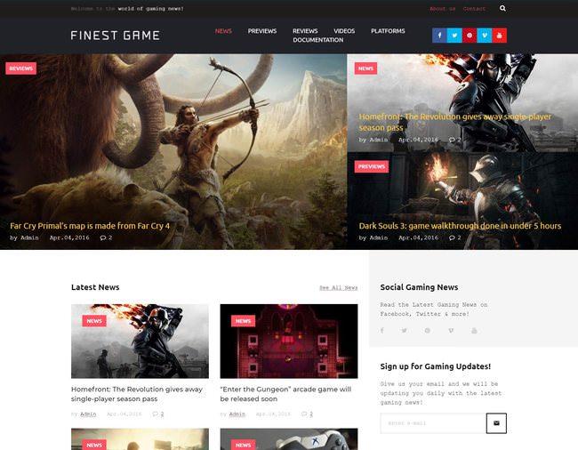 Game Portal - прекрасная тема для игрового сайта