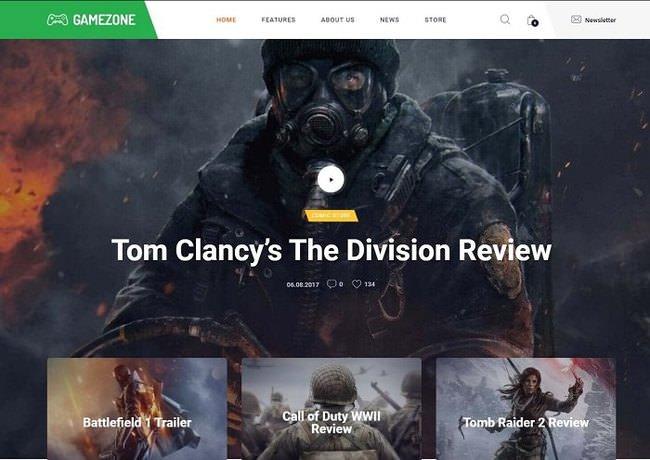 Gamezone шаблон WordPress для сайта клана