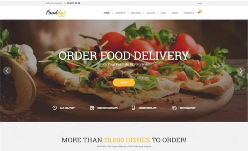 Тема Fooddy 24/7 для Вордпресс сайта