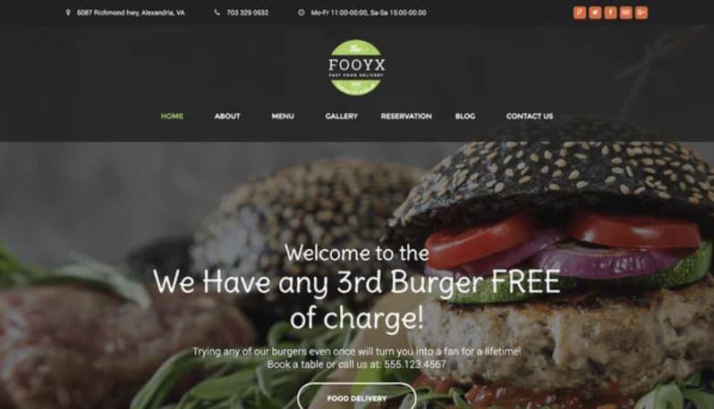 Шаблон Fooxy для сайта доставки еды
