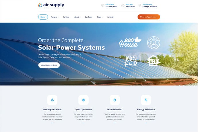 Air Supply   WordPress шаблон для сервиса по установке кондиционеров + RTL