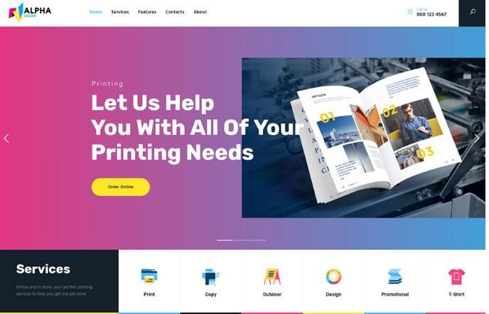 AlphaColor   WordPress шаблон для серивиса печати и дизайна