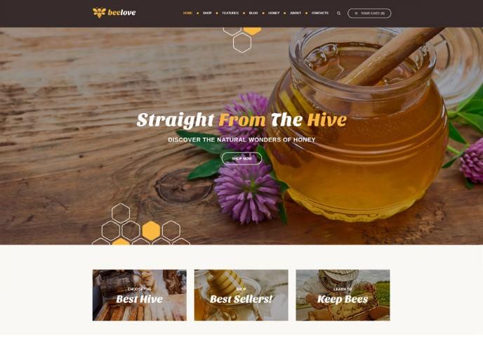Beelove   WordPress шаблон для производства и продажи мёда