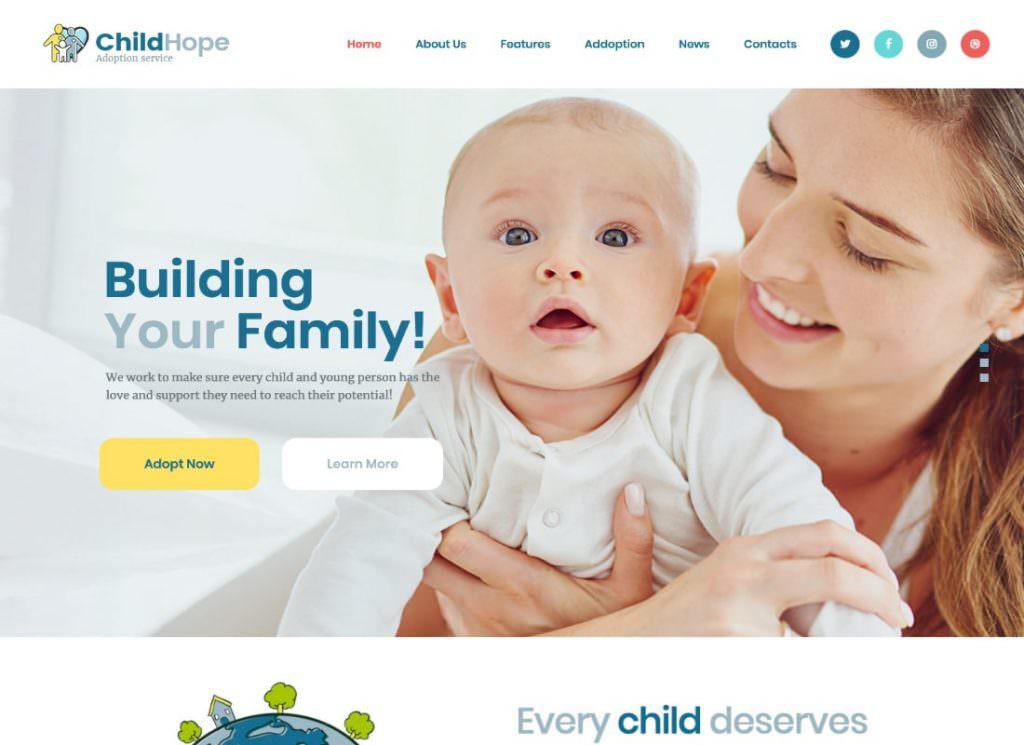 Служба усыновления детей и благотворительная некоммерческая тема WordPress
