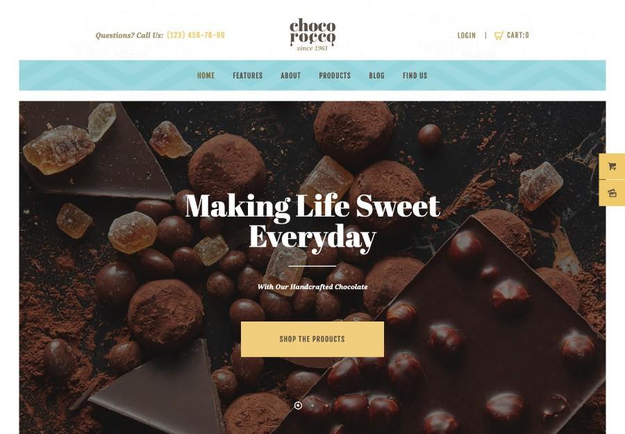 ChocoRocco | WordPress шаблон для кондитерской и магазина шоколадных изделий