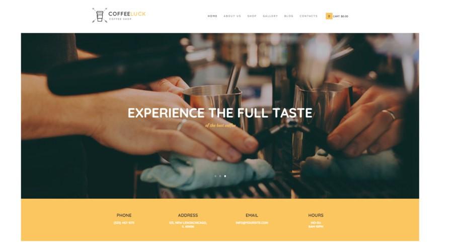 Coffee Luck | шаблон для кофейни и ресторана c WooCommerce