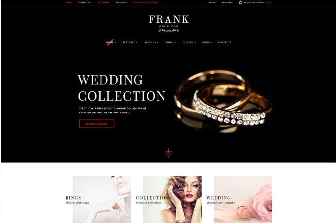 Jewelry & Watches Online Store   WordPress шаблон для магазина ювелирных украшений и часов