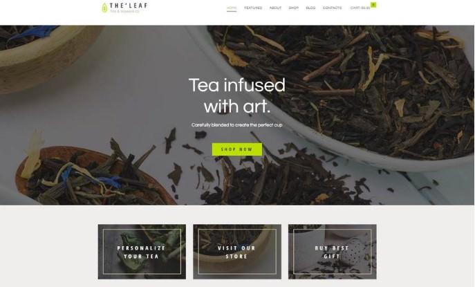 TheLeaf   WordPress шаблон для магазина чая и кофе