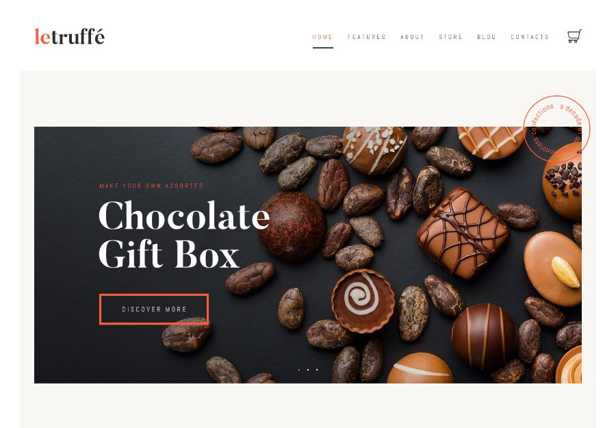 Le Truffe | WordPress шаблон для магазина кондитерских изделий