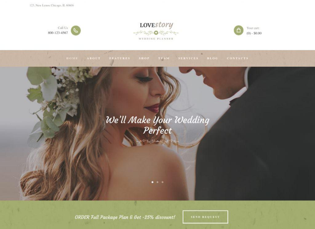 Прекрасный Свадебный и Праздничный Планировщик WordPress тема