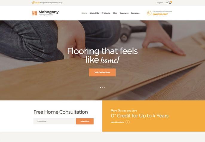 Mahogany   шаблон WordPress для сервиса по укладке полов