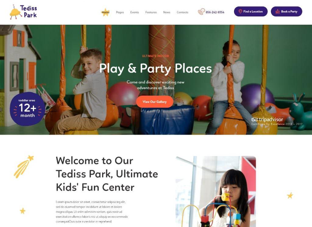 Игровая площадка и центр по уходу за детьми WordPress шаблон