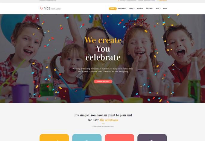 Unica   WordPress шаблон для агентства по организации мероприятий