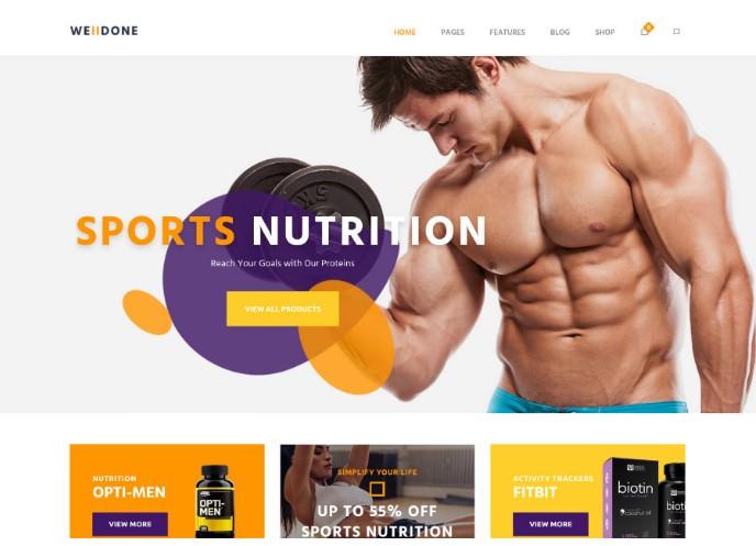 Welldone   WordPress шаблон для магазина спортивного питания