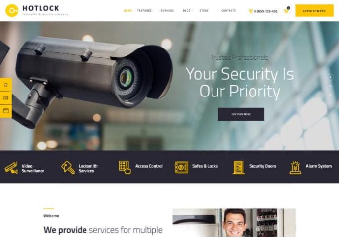 HotLock   WordPress шаблон для службы установки систем безопасности, замков, камер наблюдения