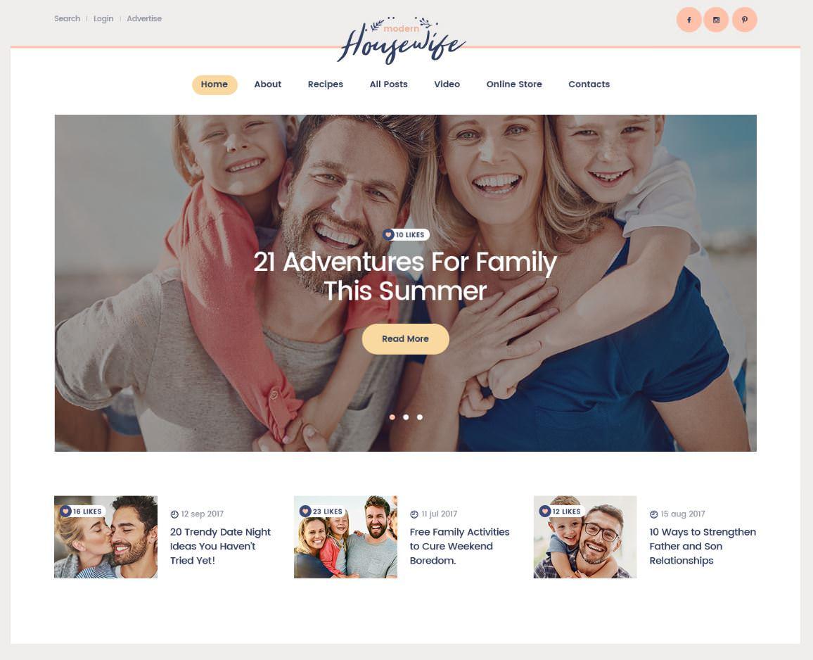 Houswife| Тема WordPress блога для женщин и семьи